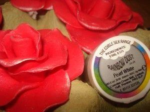 Brillo en rosas de fondant